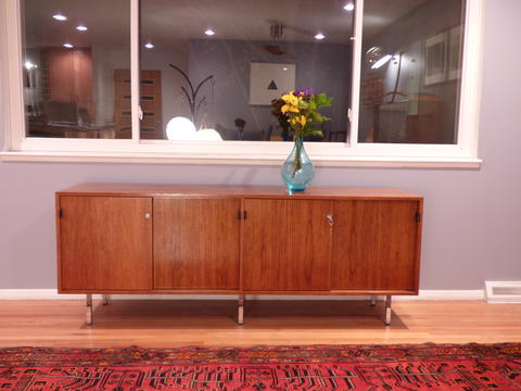 Danish Credenza Walnut : Florence knoll mid century modern credenza in walnut and chrome